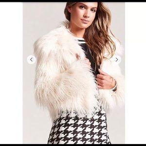 SHAGGY FAUX FUR WHITE COAT
